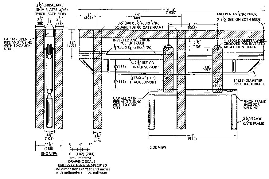 Schematic drawings of a sliding gate